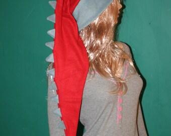 Long Fleece Hat Gray Red Dragon Dinosaur Tail Fleece Winter Ski
