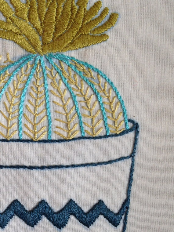 Barrel Cactus Hand Embroidery Pattern PDF Download