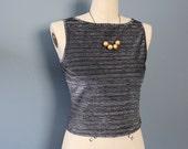 Cropped Top, Metallic Top, Sleeveless Shirt, Vintage Shirt