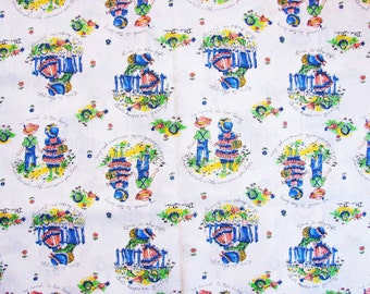 Vintage Juvenile Novelty Print Fabric, Childrens Cotton Fabric, Boy Girl Holding Hands Vintage Sewing Fabric 1970s