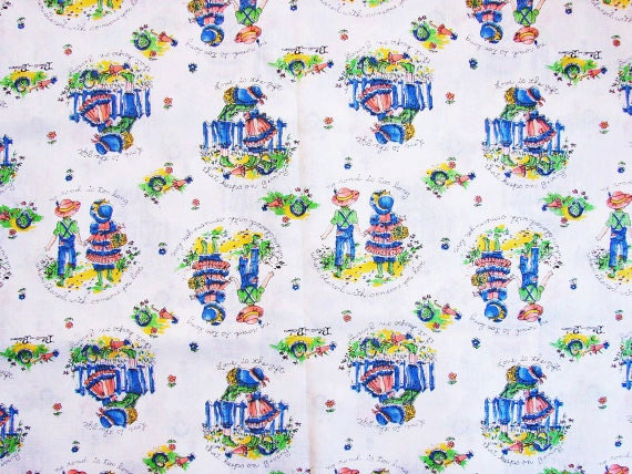 Vintage fabric 1970s juvenile novelty print fabric for Vintage childrens fabric prints