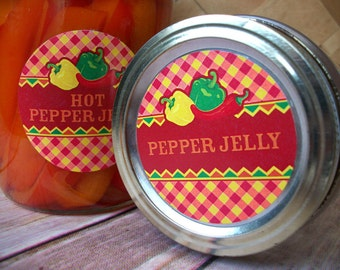 Fiesta Hot Pepper Jelly canning labels, 2 inch round mason jar labels, food preservation, regular or wide mouth canning jar labels
