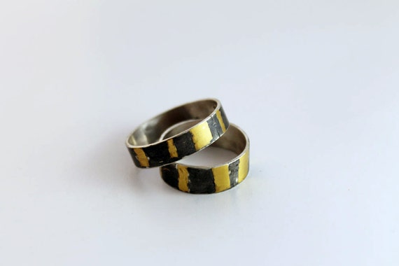 Unique wedding band set, matching wedding ring set, Sterling silver and 24k gold keum boo ring,