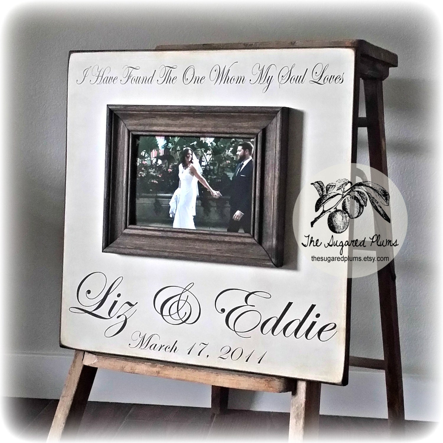 Custom Wedding Frame Personalized Picture Frame by thesugaredplums