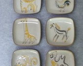 Glidden Pottery- Set of 6 Plates - Zoo Animals