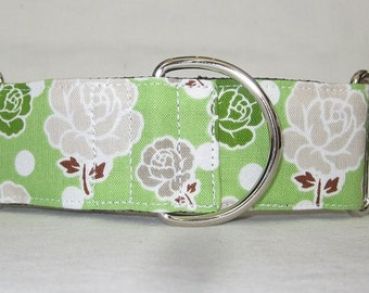 Rose Martingale Dog Collar - 1.5 Inch - green white polka dot flowers floral gray beautiful