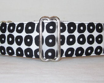 Cobblestone Martingale Dog Collar - 1.5 - black white pebbles industrial modern spots handsome boy dalmation