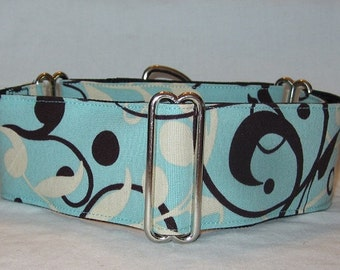 SALE Simple Elegance Martingale Collar - 1.5 or 2 Inch - turquoise blue brown cream swirl dots floral