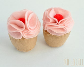 Felt Cupcakes with Strawberry Frosting and a Pom Pom Cherry on top - READY TO SHIP