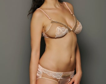 SAMPLE SALE, SIENNA Silver Peony Illusion Tulle and lace Bow tie Bra and pearls- pink bridal lingrie