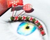 Strawberry Candy Eyelash Jewelry - false eyelashes with tiny strawberries and candies