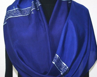 Silk Scarf Hand Painted Silk Shawl Sapphire Blue Royal Blue Hand Dyed Silk Scarf SILENT NIGHT Large 14x72 Birthday Gift Scarf Gift-Wrapped