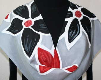 Silk Scarf Hand Painted, Red Black Grey Hand Dyed Silk Scarf SILVER GARDEN, Size 11x60, Anniversary Gift, READY to Ship Immediately