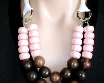 ASHIRA Statement Necklace Tiger Ebony, Pink Vintage Lucite Beads Made in Austria, Ribbon