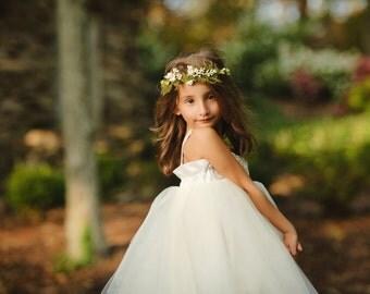 Floral Crown---Woodland Fairy Hair Wreath--Flower Girls--Bridesmaids--Bridal Head Wreath--Rustic Wedding