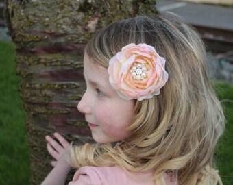 blush flower clip- or blush flower headband,any size, newborn,baby flower girl,photo prop