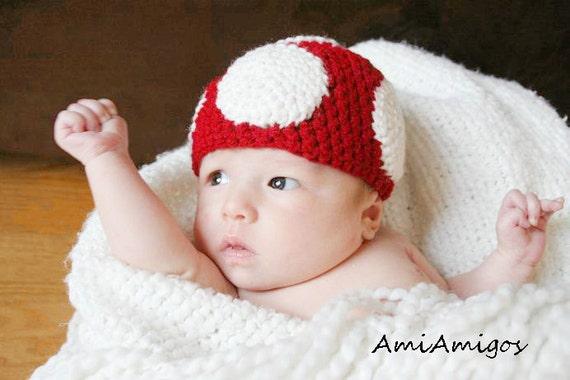 Crochet Cute Mushroom Hat (Newborn)