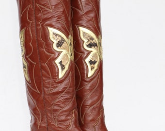 Tall Beautiful vintage Justin butterfly cutout leather womens cowboy boots with snakeskin inlays 5 B Made in USA