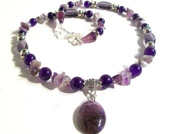 Genuine Amethyst Oval Pendant Necklace Set, 2 Piece Set, Amethyst Gemstone, Statement Necklace