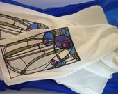 Charles Rennie Mackintosh Art Nouveau style hand-painted  silk scarf