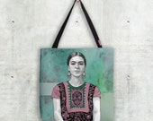 Illustrated Tote Bag - 'Frida  - Day of the Dead Tattoo Shirt'
