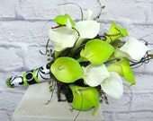 Wedding Bouquet real touch Calla lily lime green white damask bridal bouquet