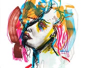 Original Abstract Surreal Watercolor Portrait Painting, Bright Colorful Fashion Illustration - 10.02