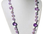 Cotton candy collection. Purple and white daisy chain necklace, glass beads, glass tubes. purple wire wrapped pink, white and green pendant