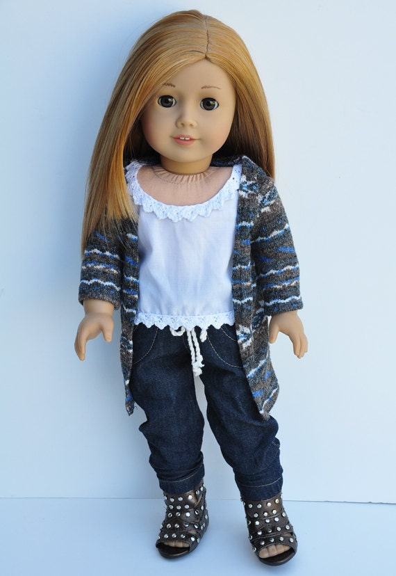 American Girl Clothes - Cardigan, Grey, Taupe, Blue, Long Sweater, Top, Separates