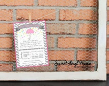 Sprinkle Shower Invitation - Baby Girl - Baby Sprinkle - Baby Shower - Umbrella - Pink and Gray - Customize - Printable - 5x7 -  Invitation