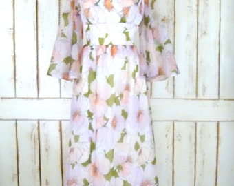 70s vintage pink floral flutter/bell sleeve sheer maxi dress/long floral empire waist dress