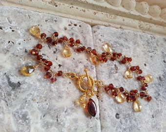 Reserved for M. Garnet and Citrine Briolette Charm Gold Filled Wire Wrapped Necklace with Gemstone