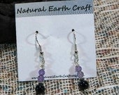 Black onyx and purple amethyst earrings semiprecious stone jewelry packaged in a colorful gift bag 2543