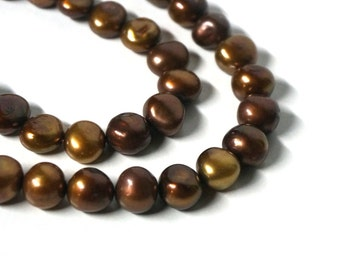 Freshwater Pearls, 10mm flat sided potato beads, Brown Sepia Mix, Full strand (1059P)