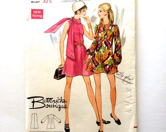 60s Butterick 5650 High Fitting Dress with Flared Mini Skirt, Sleeveless or Long Sleeve- Size 10 Bust 32 MOD