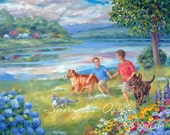 16x20 Custom Commissioned Painting from Photos in Watercolor or Oil by Janet Zeh