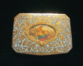 Antique Italian Compact Champleve Enamel Gold Gilt Powder Box Victorian Courting Scene RARE