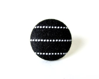 Large striped fabric ring - black white stripes - big button ring - fabric covered ring yin yang