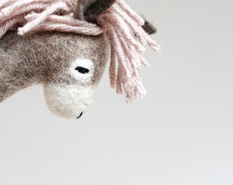 Rosalinda - Felt Donkey. Art Toy. Felted Toys. Marionette. Felt Toy. Eco friendly toy. grey gray pale pink. MADE TO ORDER