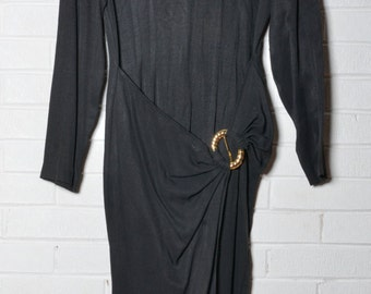 80's Black Studded Dress Women's Gold Accents