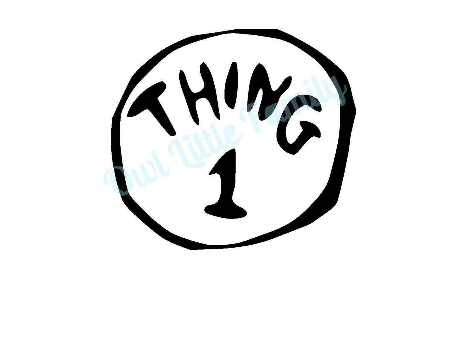 thing one iron on vinyl decal. Black Bedroom Furniture Sets. Home Design Ideas