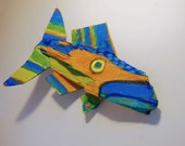 Original Fish Art Created from Recycled Materials - Painted Wood Fish Art is Ready to Hang in any Room