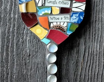 Custom Mosaic Wine Glass Wall Art with Whimsical Sentiment  MADE TO ORDER