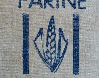 Vintage French Flour Sack calico Toile Linen Cloth Bag Farine Wheat Printed