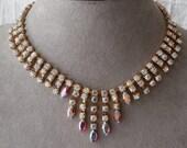 Vintage RED Aurora Borealis Rhinestone Choker Necklace