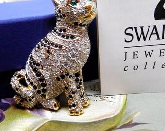 Retired SWAROVSKI Crystal Tiger Or Tabby Cat Brooch Orig. Box & Paper    KCG45