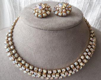 Aurora Borealis Rhinestone Choker Necklace & Earrings Set