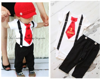 Personalized Mickey Mouse Birthday Tie and Suspenders Bodysuit & Black Pants OR Shorts w Buttons SET. Baby Boy First Birthday Party Disney