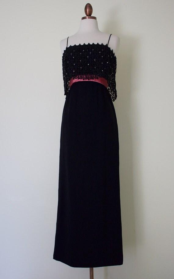 1960s An Original Jr. Theme New York formal party dress / vintage black maxi dress with pink sash