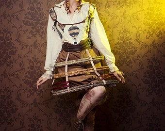 Cage skirt steampuk crinoline lolita brown red and gold